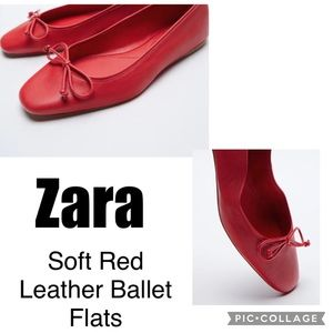 Zara Soft Red Leather Ballet Flats
